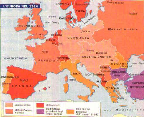 Cartina 1914.La Prima Guerra Mondiale
